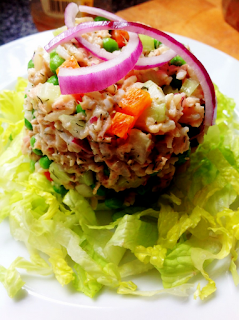 Brown Rice Salad with Tuna and Dill mayo Dressing by Zina Manda
