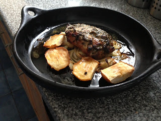 Butterfly Pork With Rosemary Mustard Honey And Baked Apples
