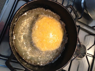 Arepa con Huevos (Eggs with corn bread) by Michael R. Goss