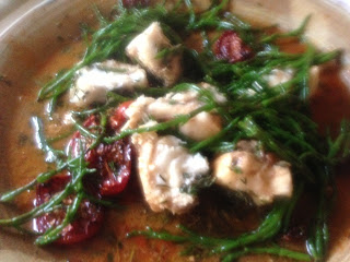 Roasted monkfish with herbs, roasted cherry tomatoes and samphire by M. Kuehn