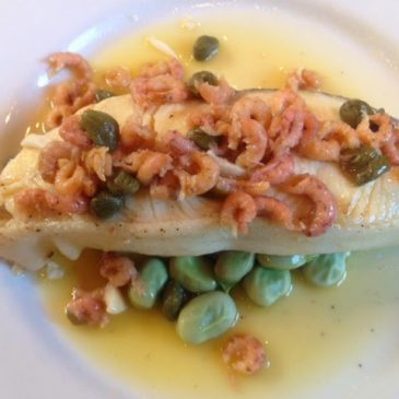 Halibut with brown shrimp butter and capers by M. Kuehn