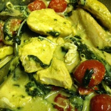 Chicken ras el  hanout with spinach and roasted tomatoes by M Kuehn